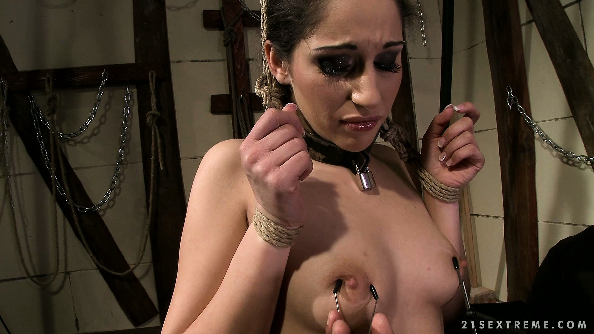 Porno Video of Brunette Gets Tied Up By Her Black Master As He Plays With Her