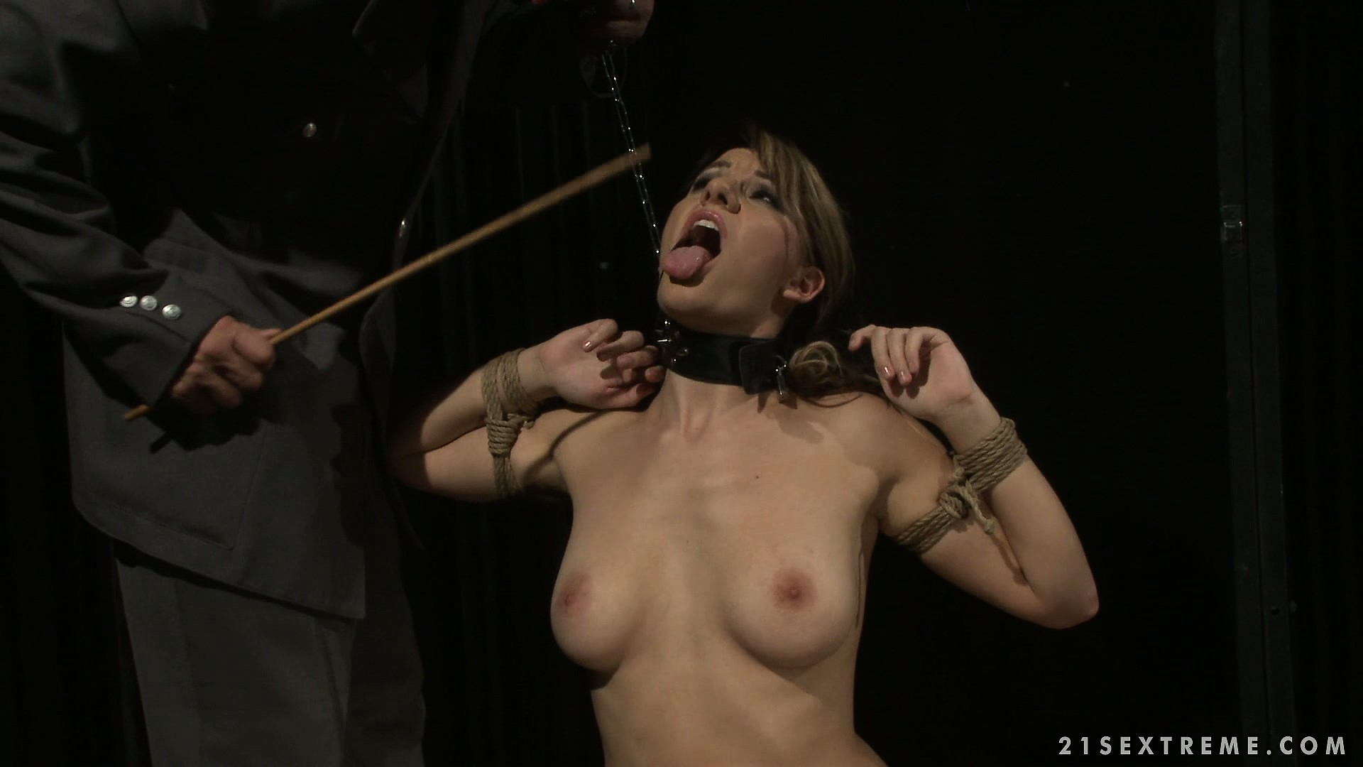 Porno Video of Gorgeous Slave Is Punished With Suspension By A Rough Soldie