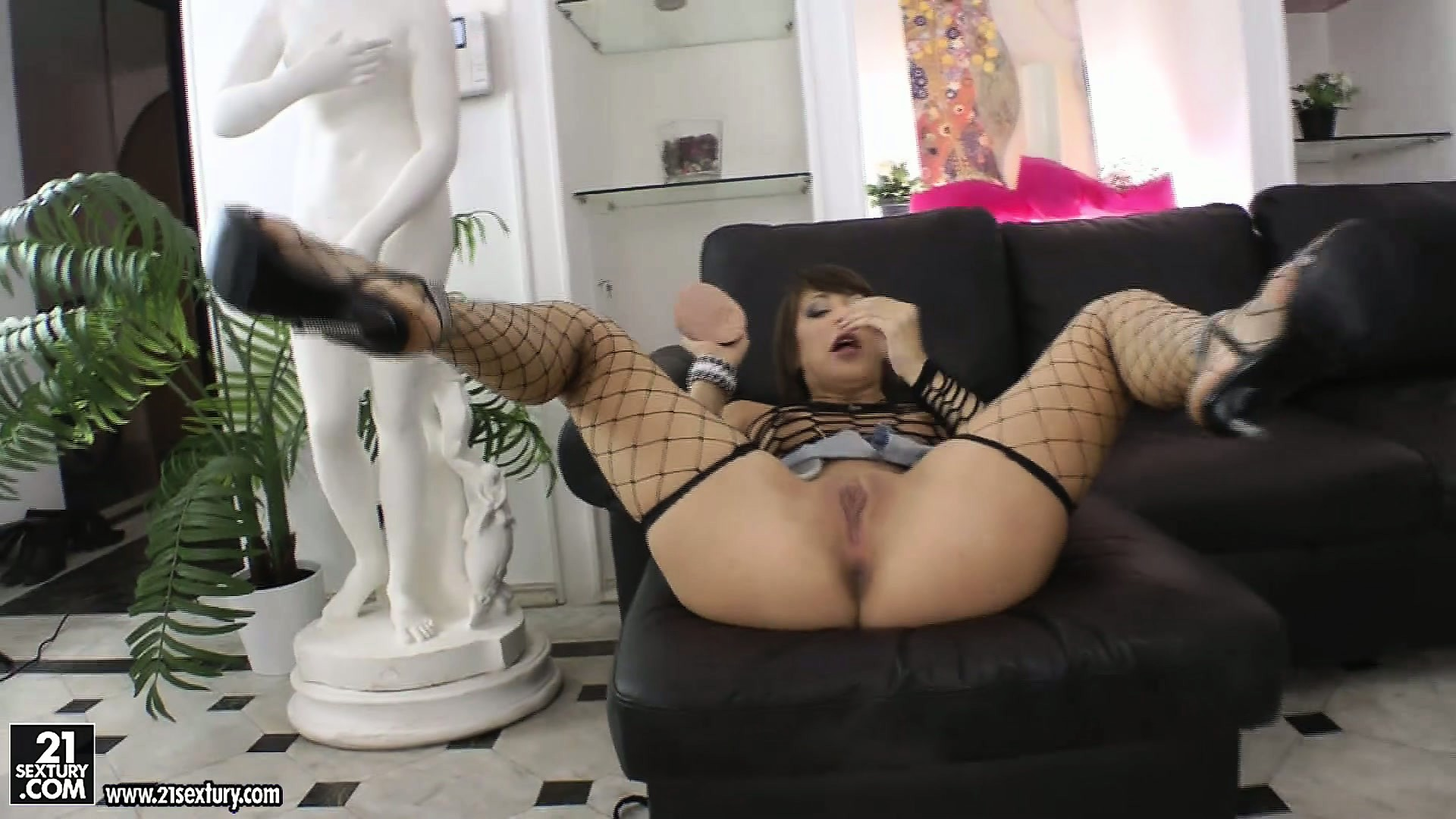Porno Video of Brunette Cutie Kirsten In Her Fishnet Outfit Blows Cock And Toys Pussy