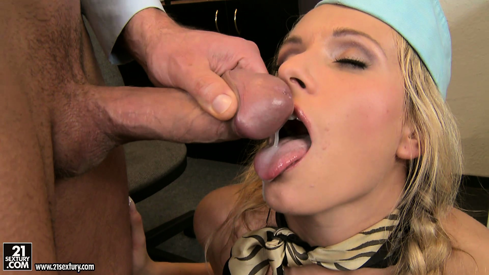 Porno Video of Stewardess Taking A Break From Hard Work On Top Of A Mighty Shlong
