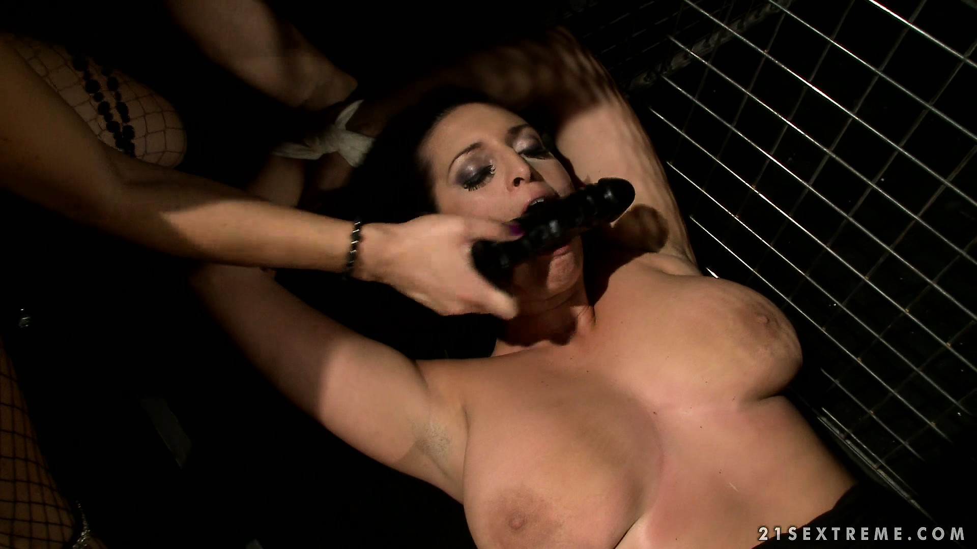 Porno Video of Busty Slave Gets Her Face Fucked With A Dildo By Her Mistress