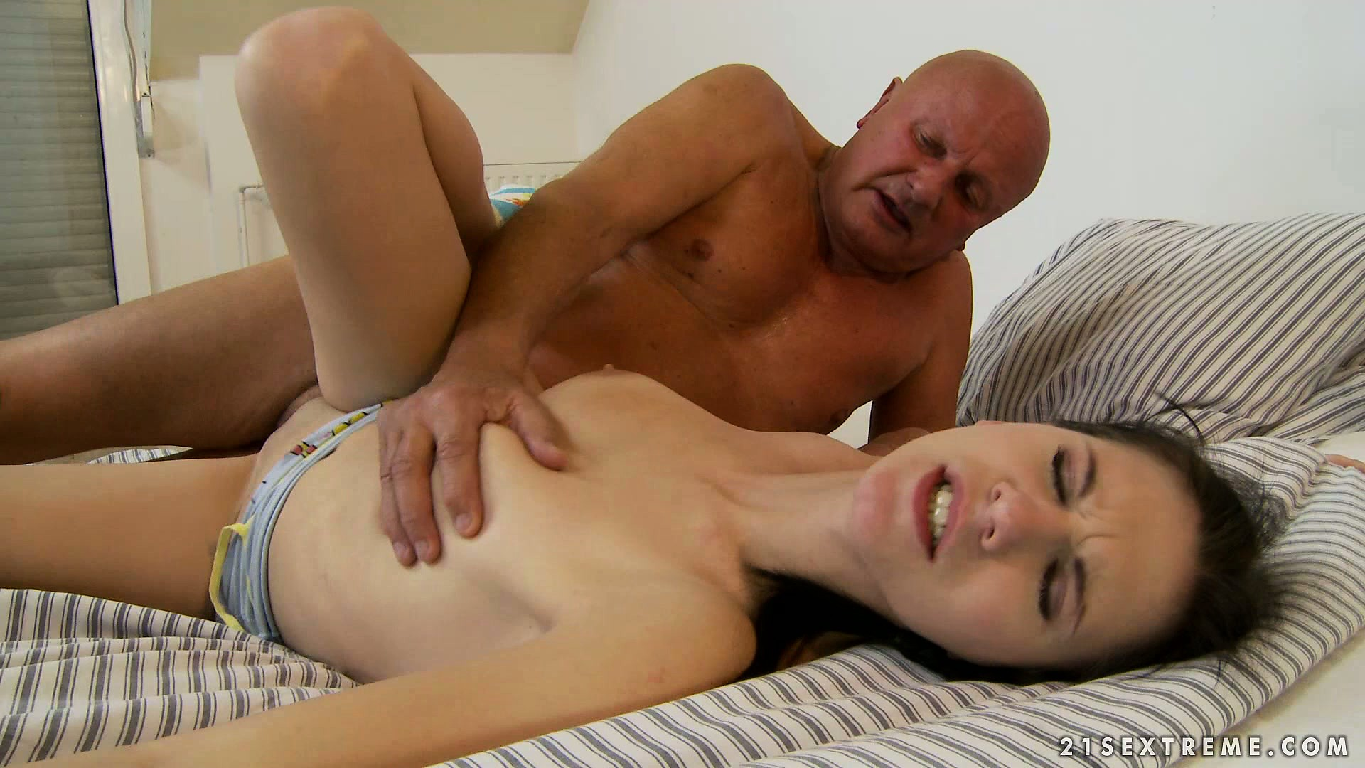 Sex Movie of Horny Old Bald Man Bends Her Over And Bangs Her Sweet Young Twat