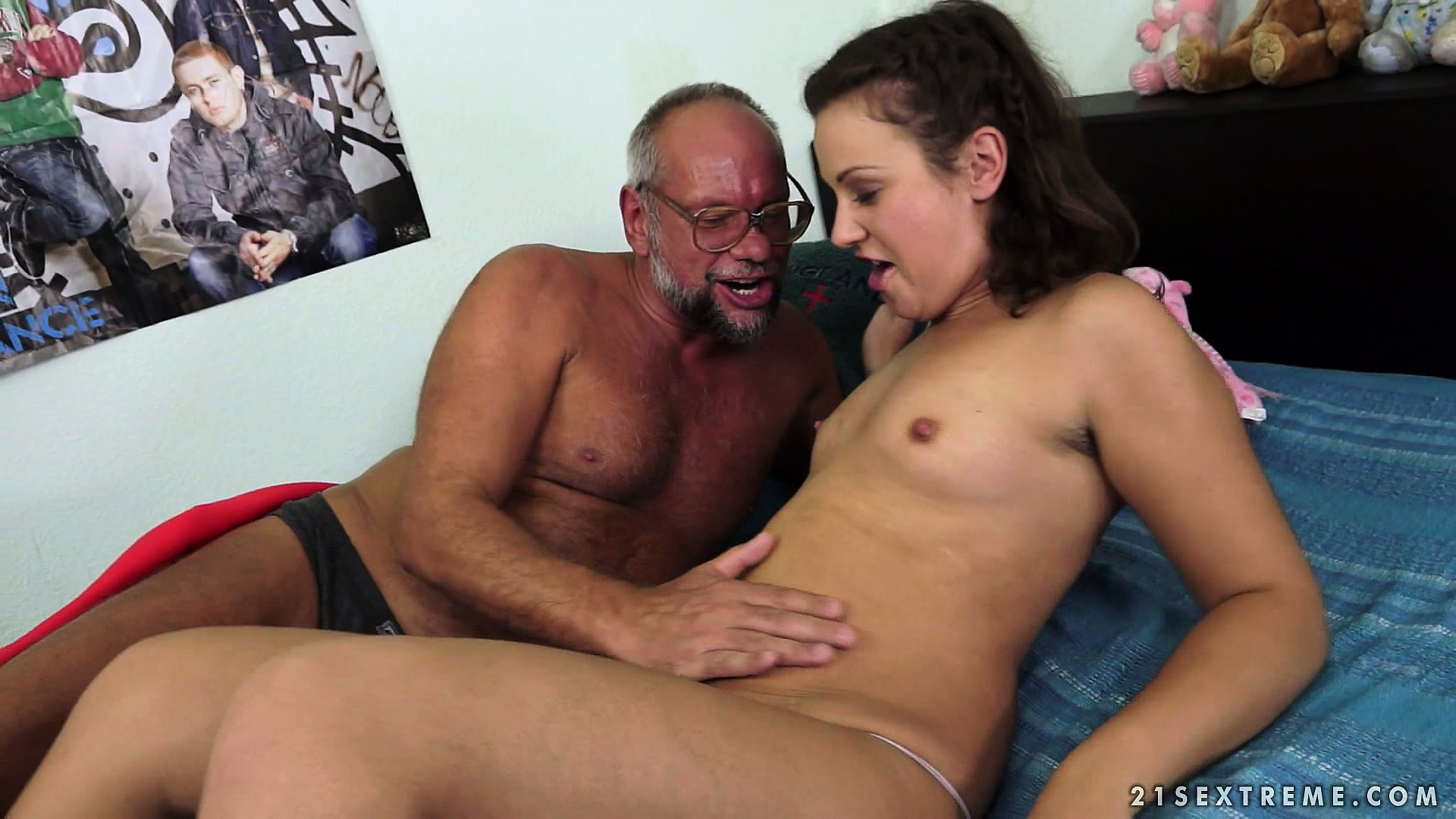 Porno Video of Little Brunette Makes It With An Old Dude And Drinks His Pee