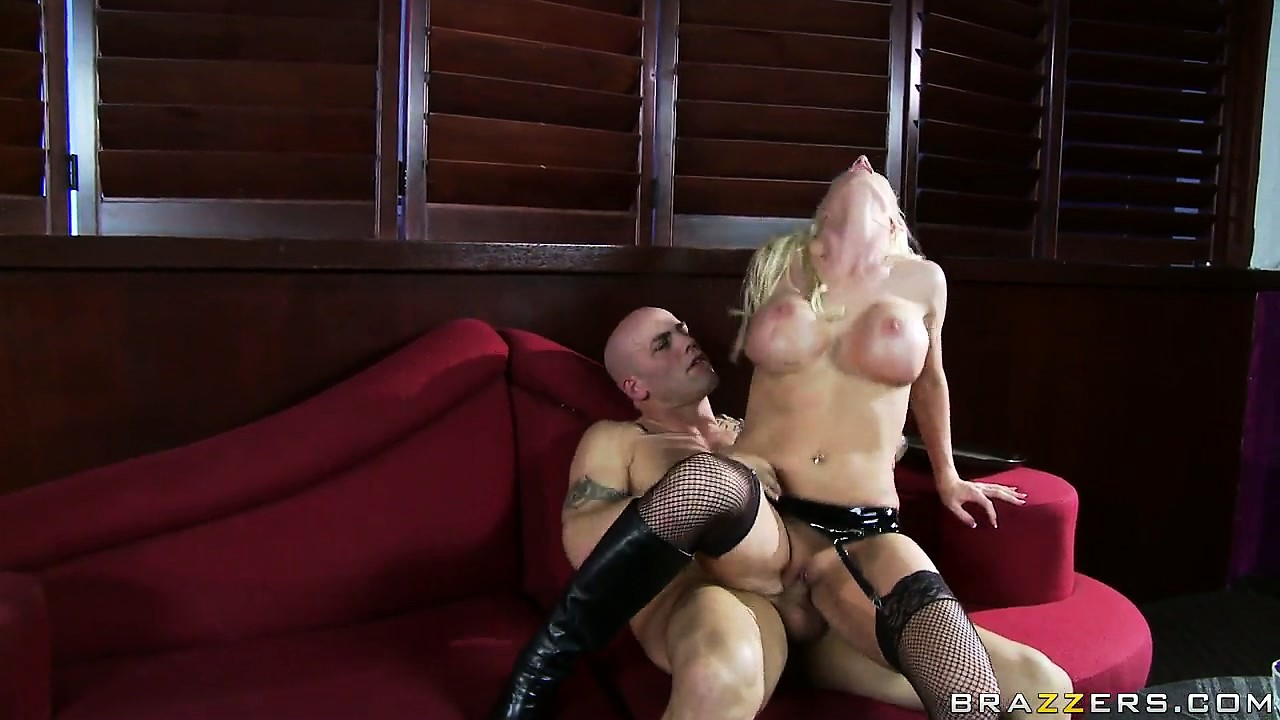 Porno Video of Blonde With Fake Tits, Wearing Black Lingerie, Gets On Top Of Hard Cleaver