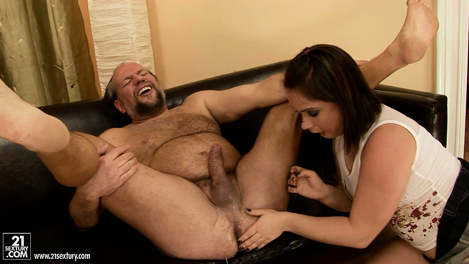 Porn Tube of Olga, A Sexy Brunette With A Sublime Ass And A Tight Cunt, Licks An Old Man's Ass
