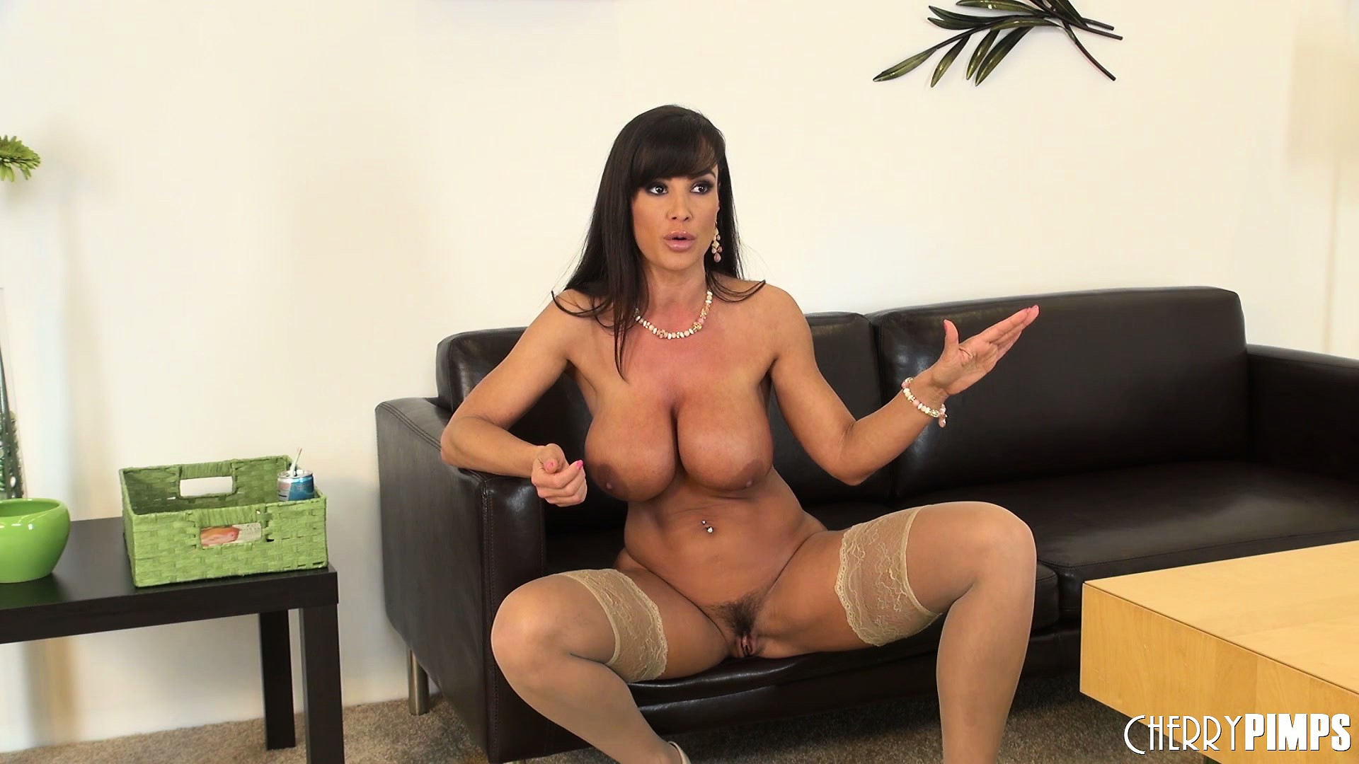 Porno Video of Busty Brunette Broad In Nylon Stockings Spreads Her Legs Wide Open