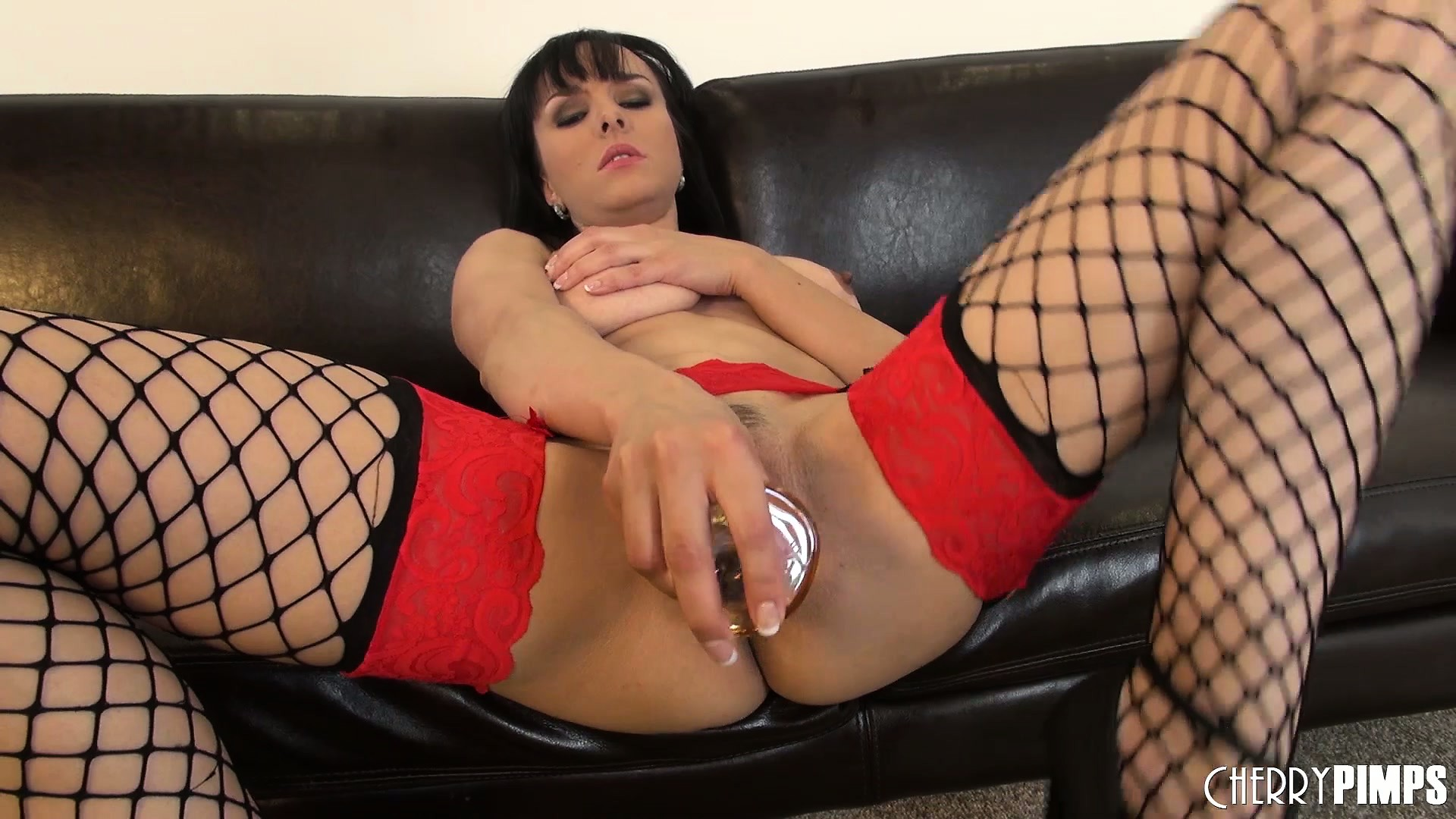 Porno Video of Cytherea Looks Naughty In Her Fishnet Stockings And Toys Her Twat
