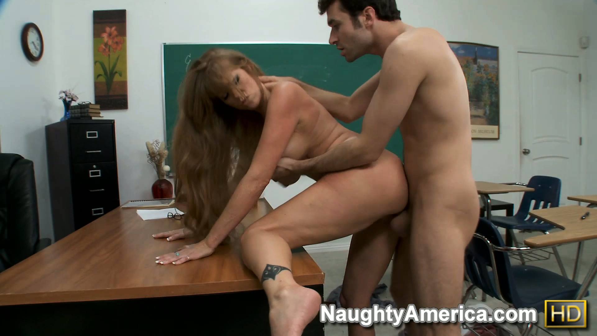 Porn Tube of Darla Crane's Huge Fake Hooters Bounce Out Of Control As She Gets Nailed In The Classroom