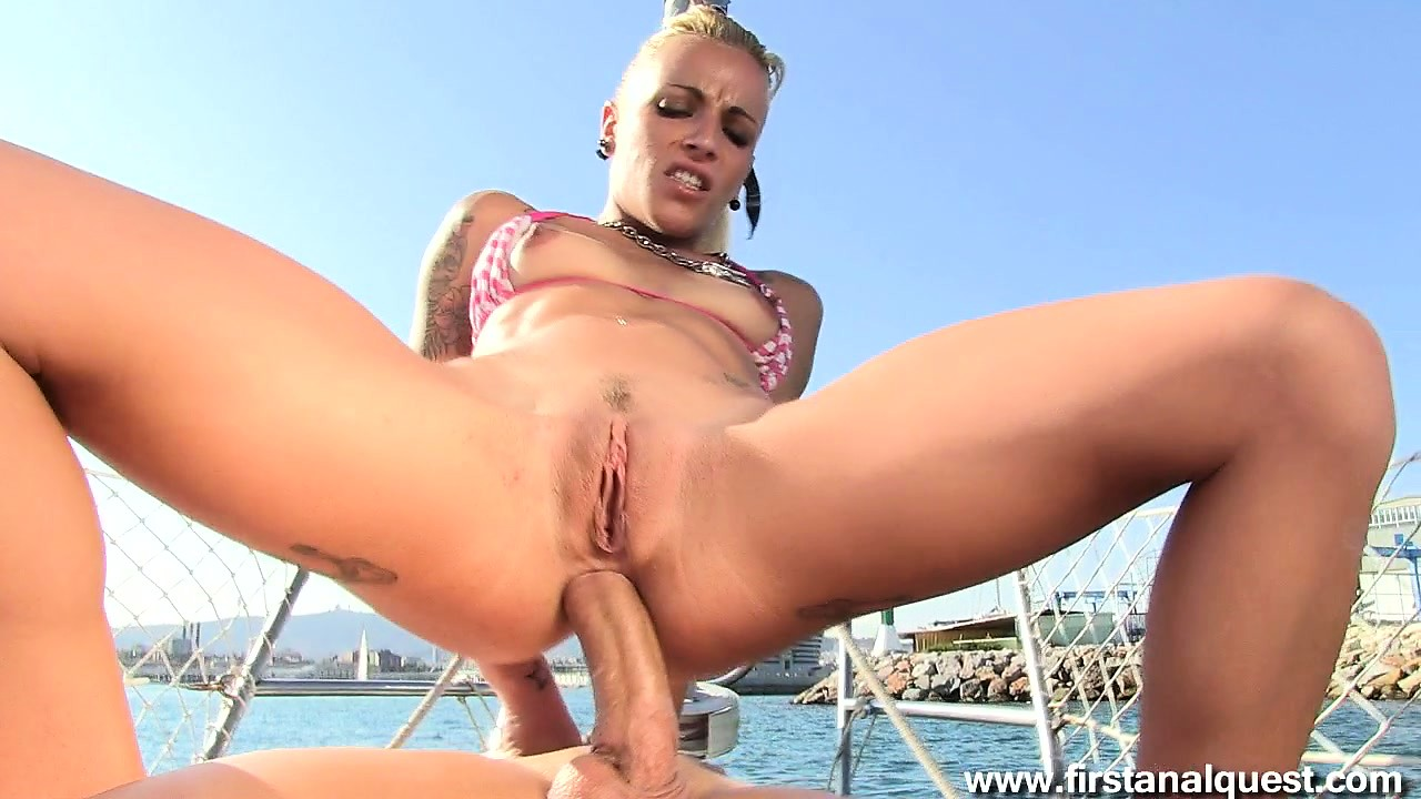 Sex Movie of Blond Punk In A Bikini Smokes A Cock Before Riding It With Her Ass