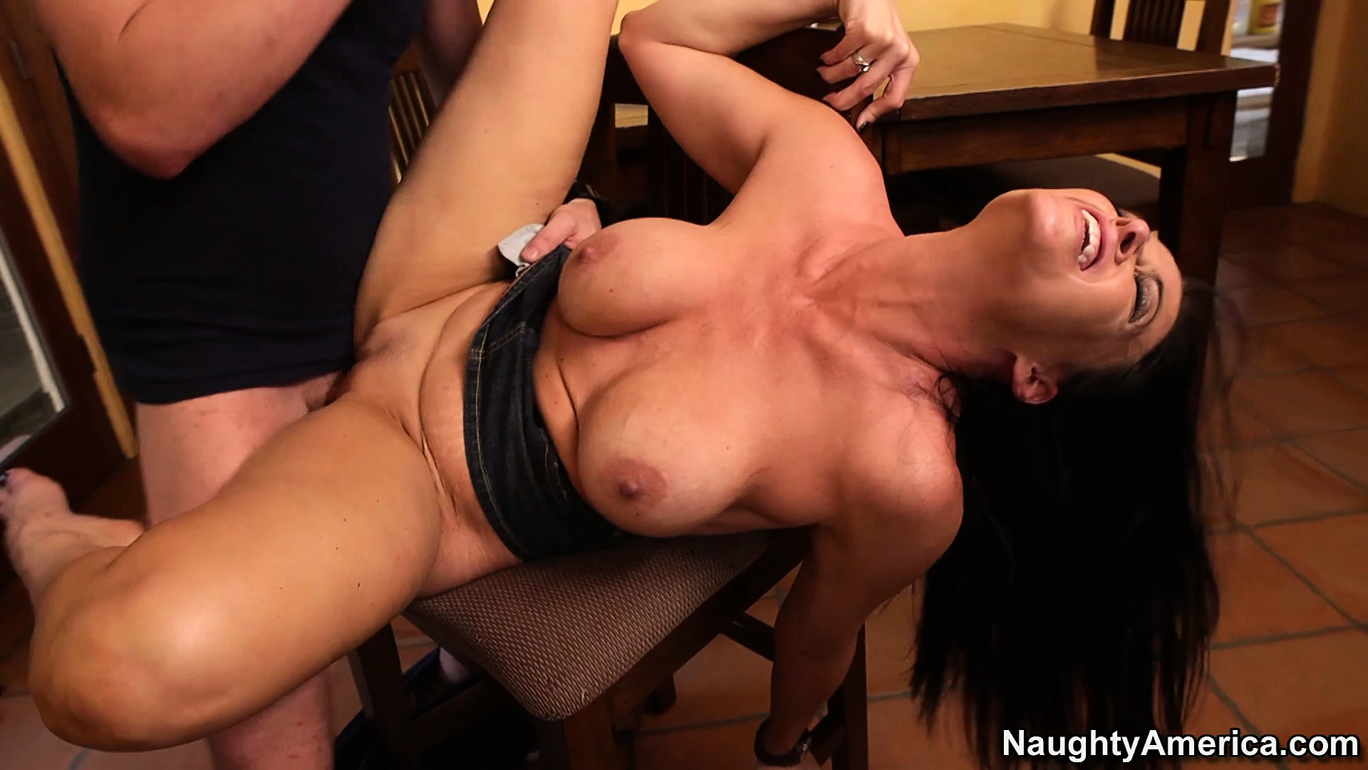 Porn Tube of Busty Brunette Mom Vanilla Deville Gets Hammered Hard On The Kitchen Table