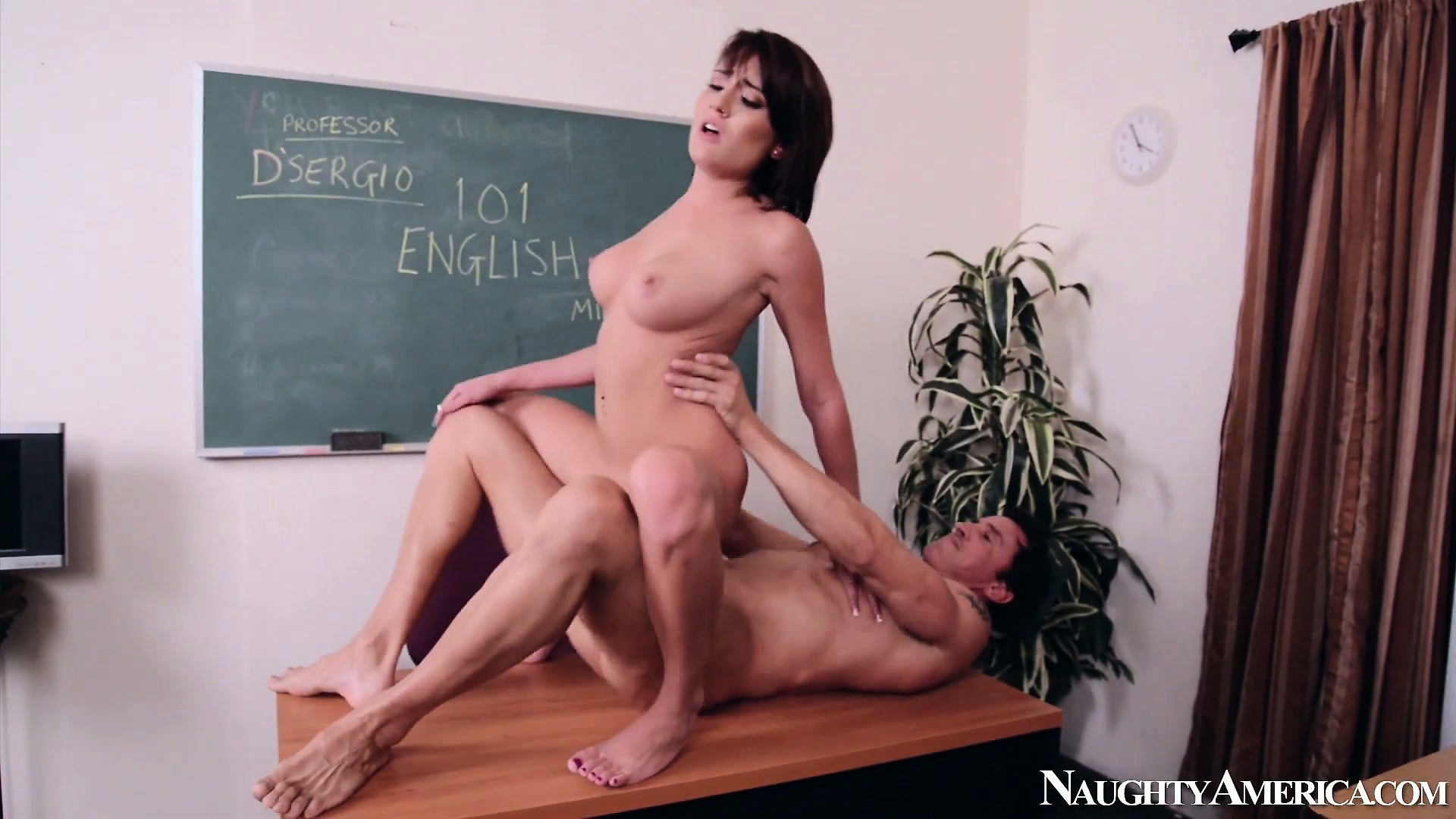 Porno Video of Slutty Schoolgirl Chase Ryder Climbs On The Teacher's Dick And Rides It