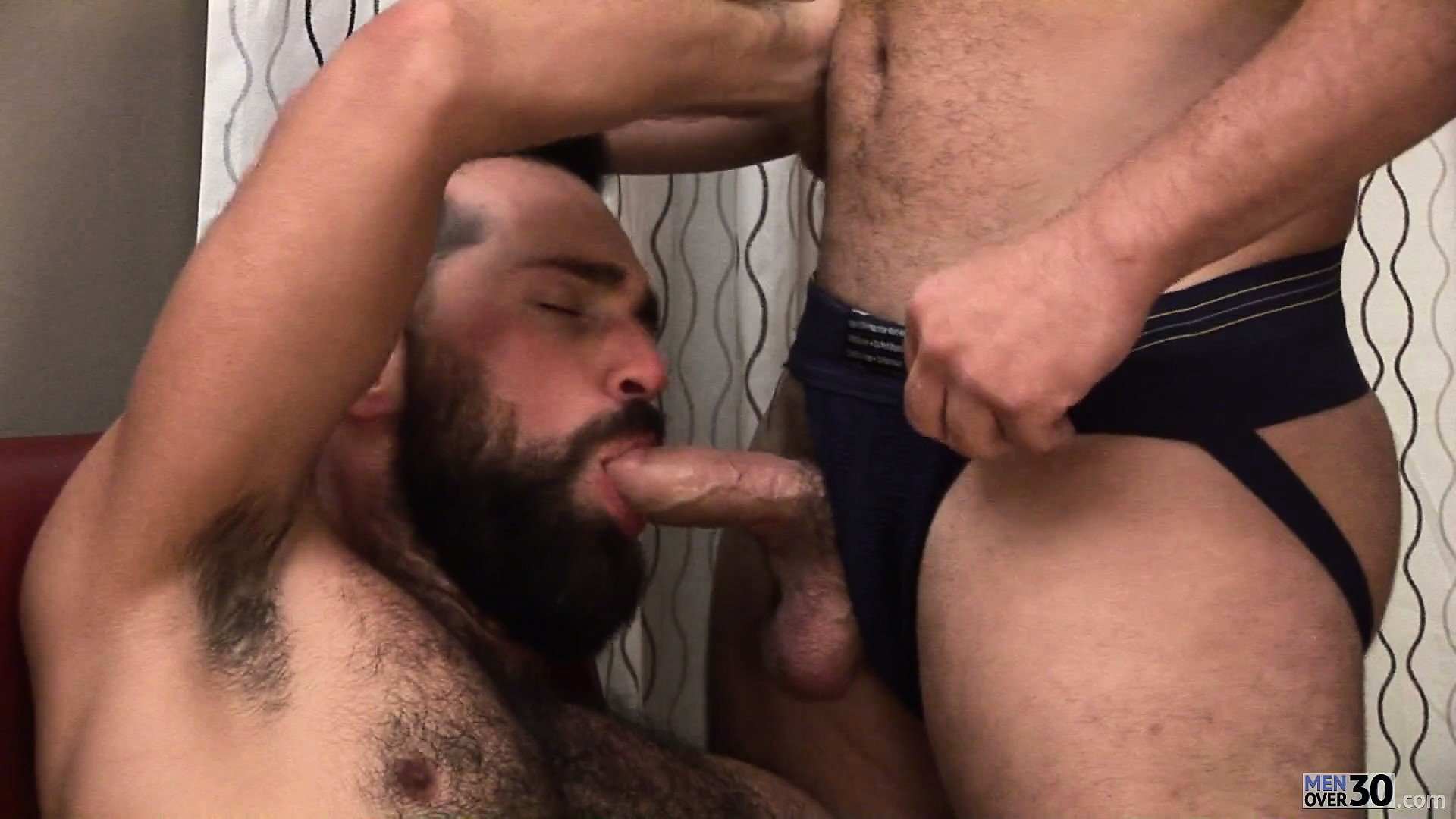 Porno Video of Super-manly Bear Getting Head From His Lover And Sucking Cock Too