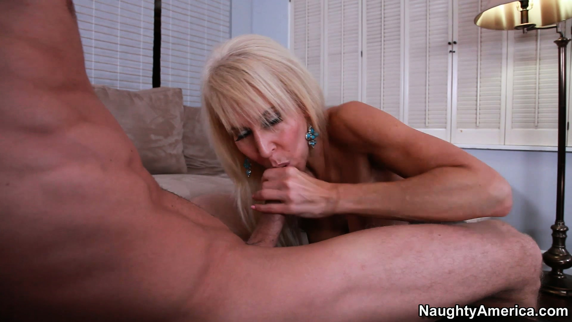 Porno Video of Slutty Mature Blonde Erica Lauren Gets Naked And Blows His Boner