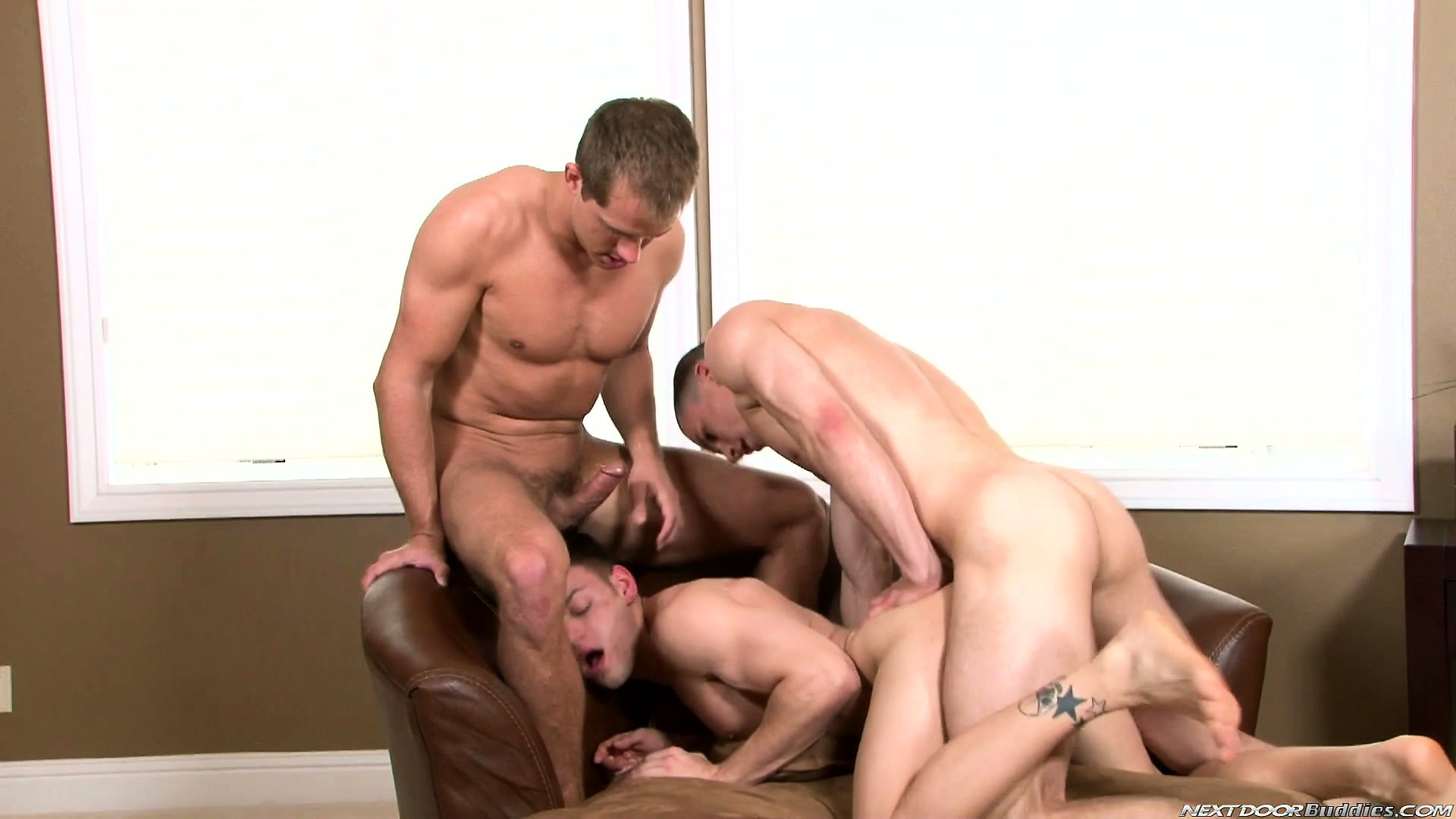 Porno Video of Lusty Boys Share Bulging Boners And Fuck Tight Ass In A Threeway