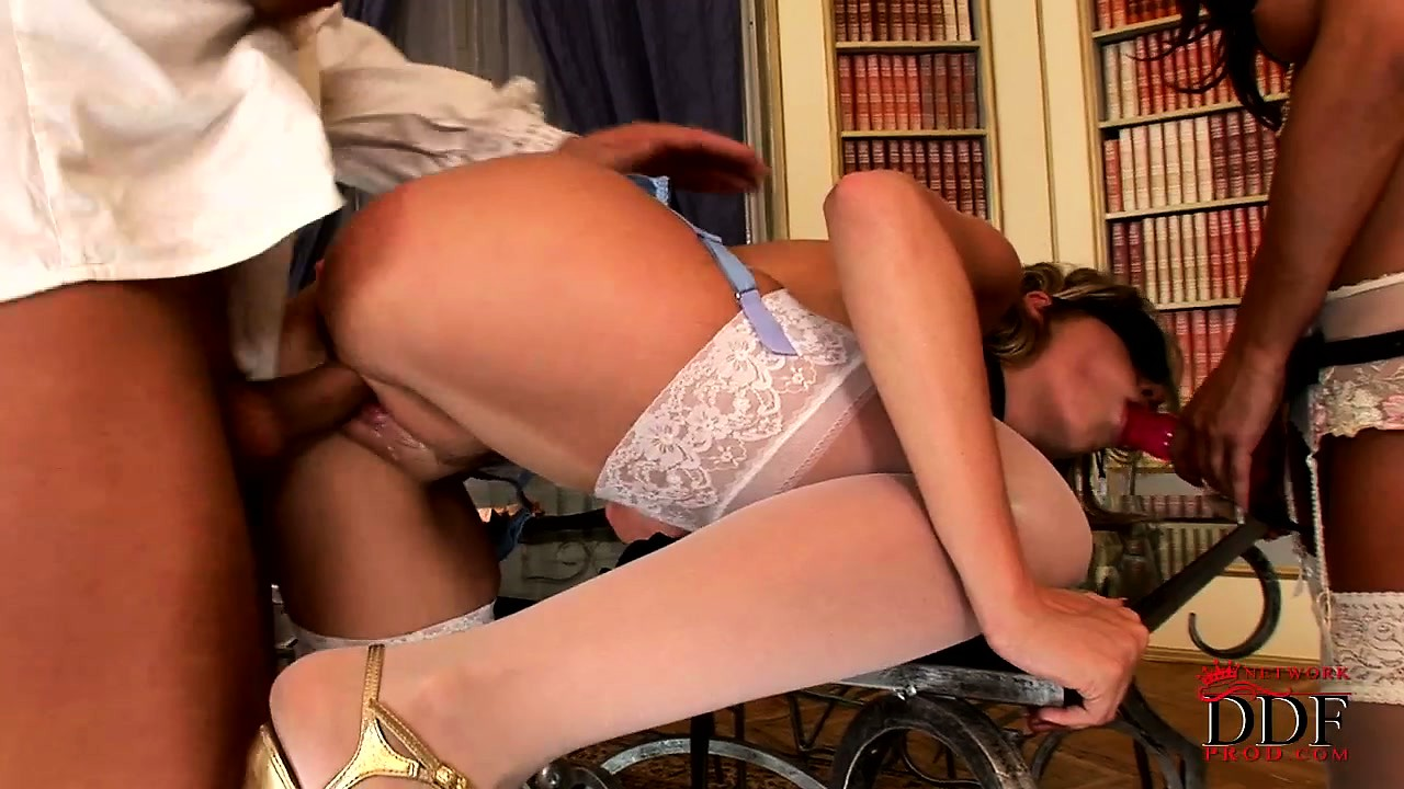 Porn Tube of Two Gorgeous Skanks Bring A Strap-on To A Bisexual Threesome