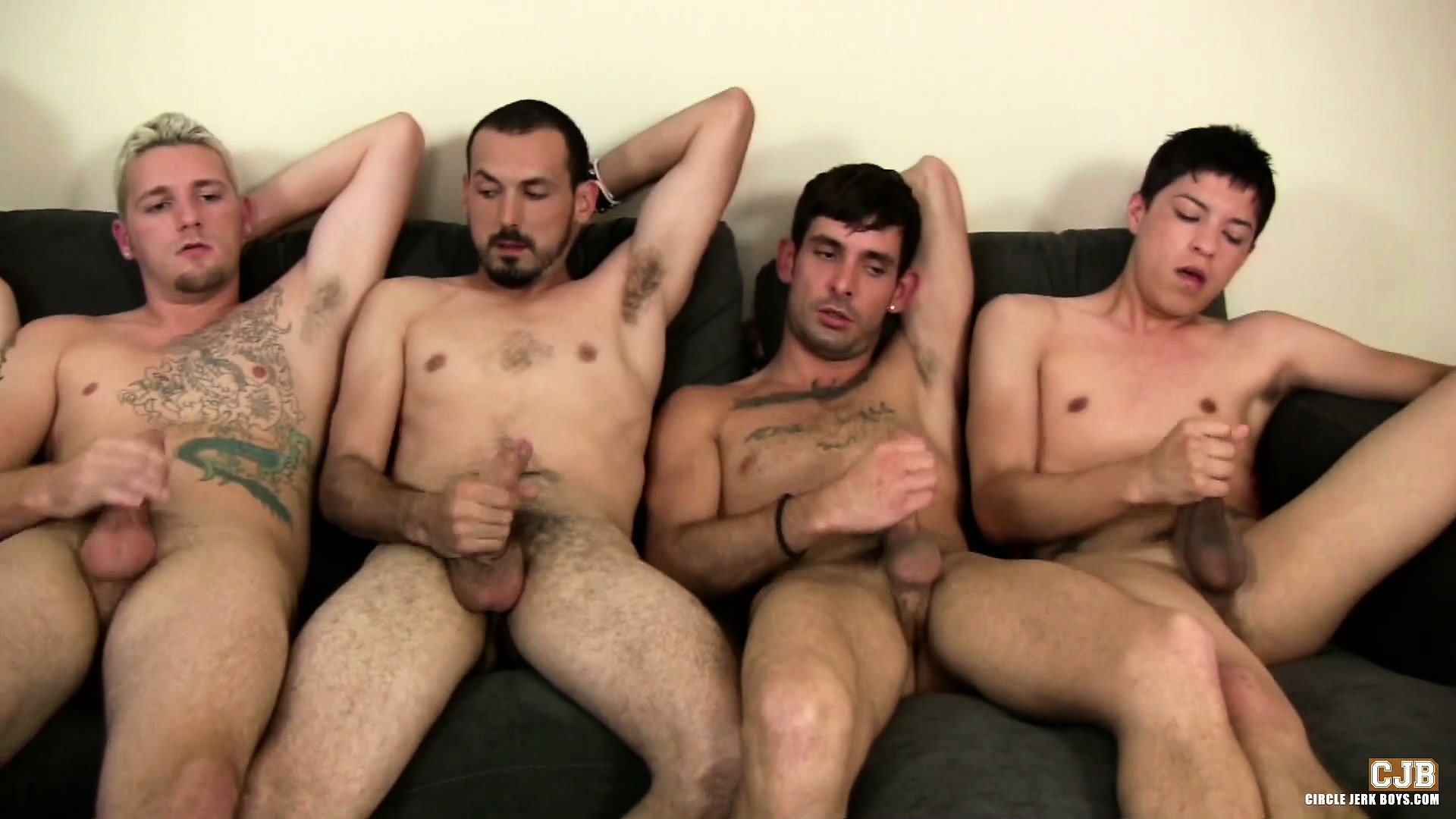 Porno Video of These Dudes Are Playing A Form Of Circle Jerk While One Dude Waits