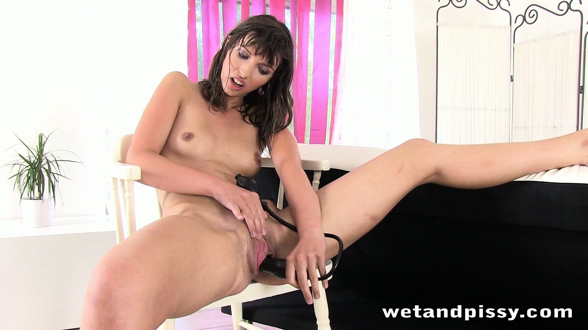 Porn Tube of Skinny Brunette Bimbo Fills Her Pussy Up With An Inflatable Toy