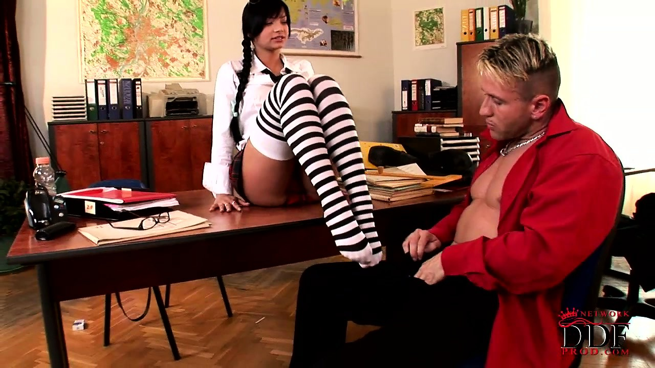 Porn Tube of Naughty Schoolgirl Uses Her Feet To Make Her Teacher Bust A Nut
