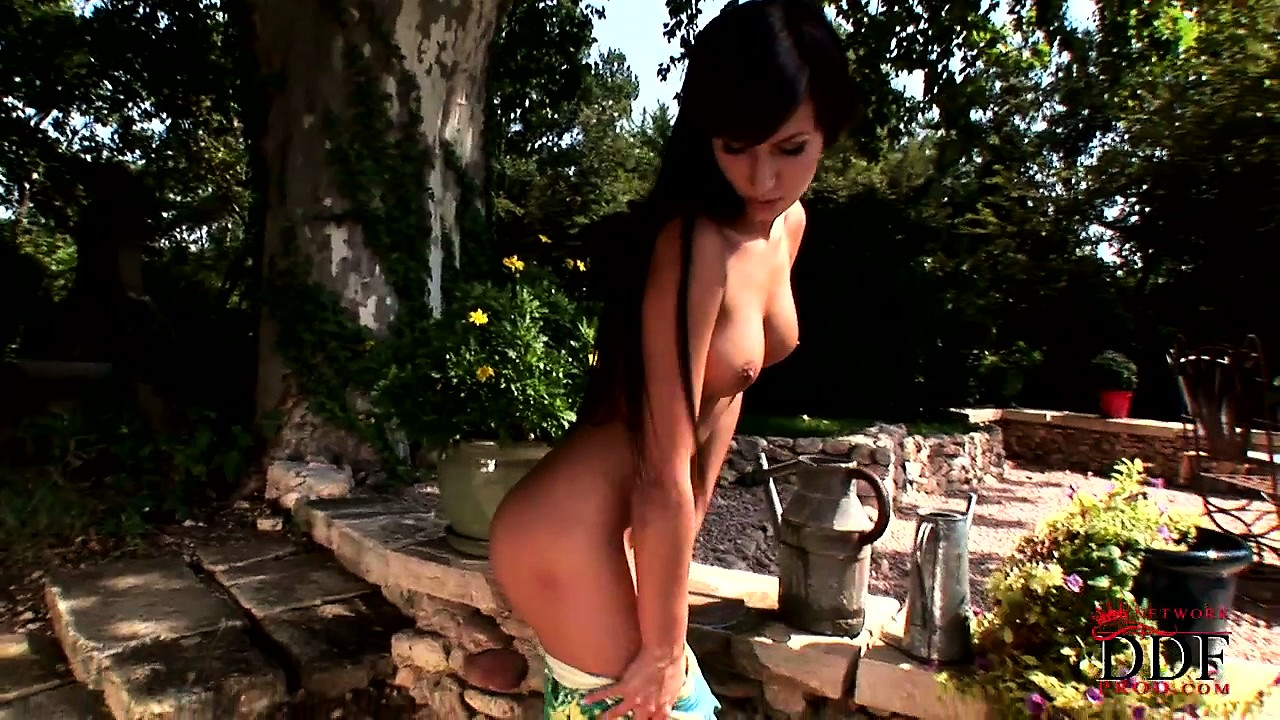 Porno Video of In The Garden, A Slender Girl With Fabulous Tits And Ass Reveals Her Sexy Feet