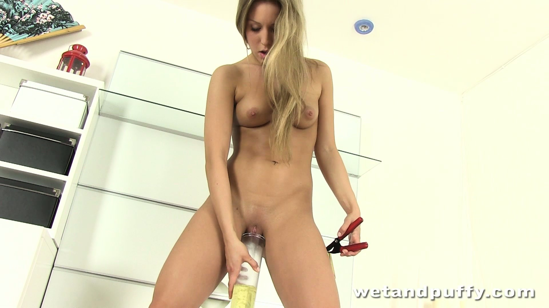 Porno Video of Slim Blonde Whitney Conroy Plays Gently With Her Gaping Nectar Box