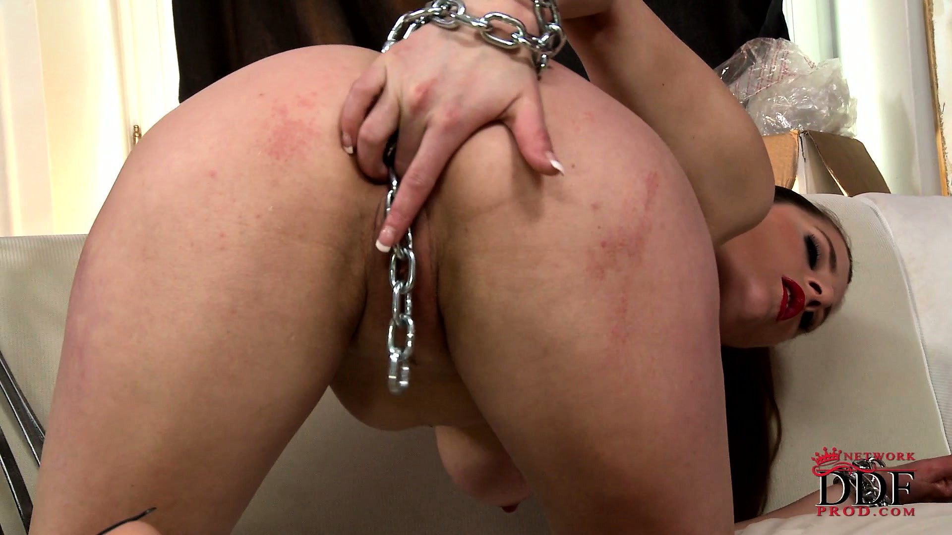Porno Video of Angie Is Chained To Her Pussy, Literally, But She Likes It A Lot