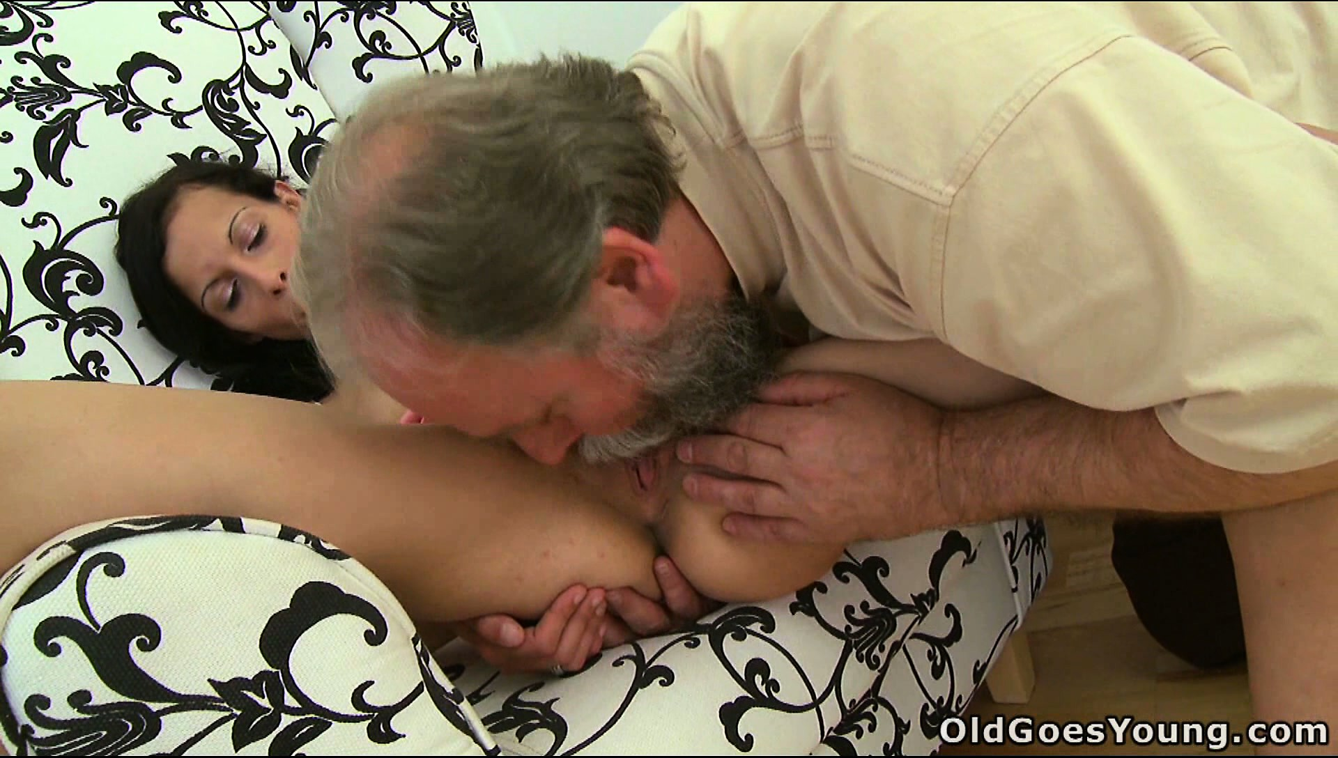 Porno Video of Skinny Young Brunette, Tonia, Gets A Horny Old Man To Please
