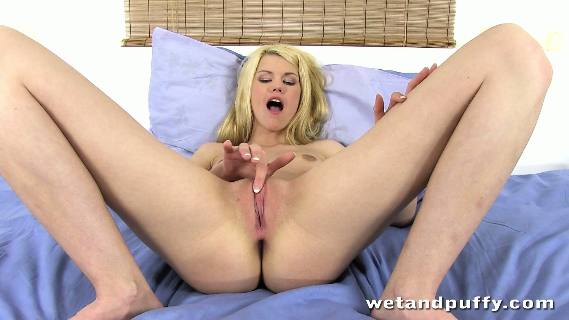 Porn Tube of Blonde Tight Bitch Grinds Her Shaven Pussy With A Huge Vibrating Rod