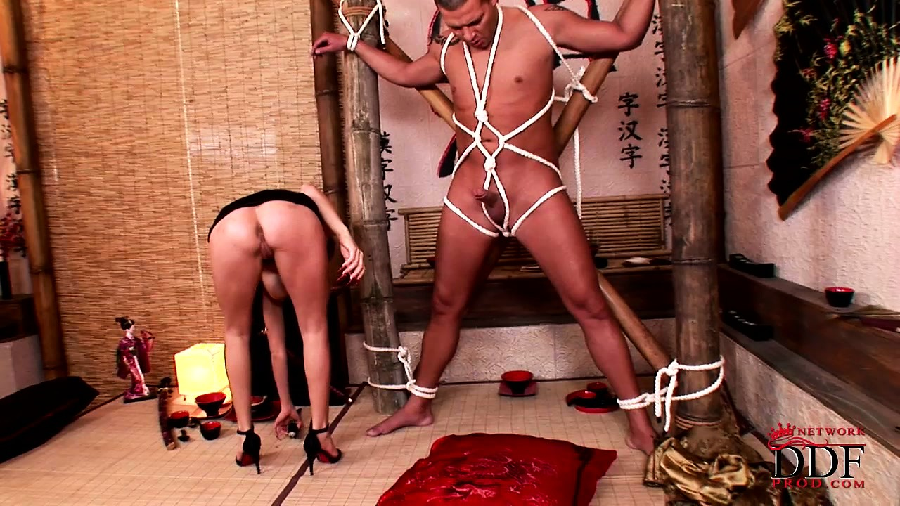 Porno Video of A Sharp Shot Of Semen For This Lusty Mistress As Her Tied Up Tool Delivers
