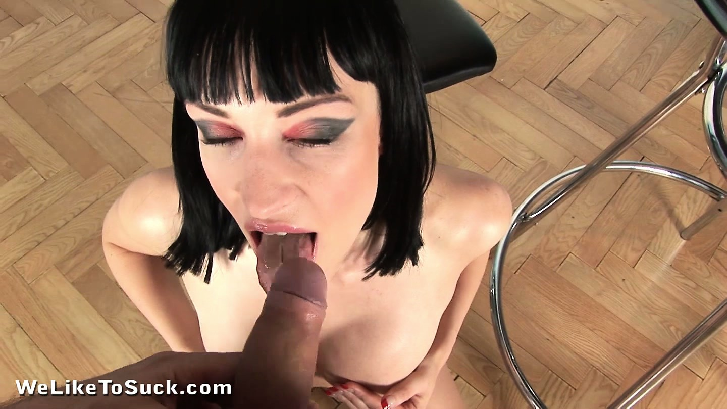 Porn Tube of Busty Brunette Babe With A Tight Shaved Pussy Sucks A Big Cock With Great Pleasure