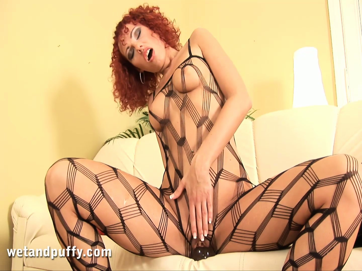 Porno Video of Delicious Redheaded Milf Shantie Sits On A Big Glass Dildo For Fun