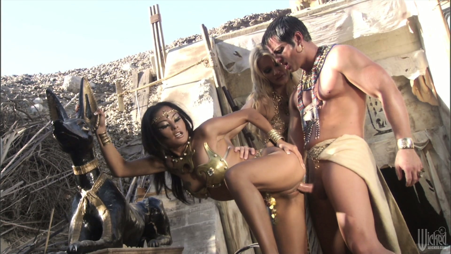 Porno Video of Fine Egyptian Bitches Service Their Pharaoh's Cock In A Threesome