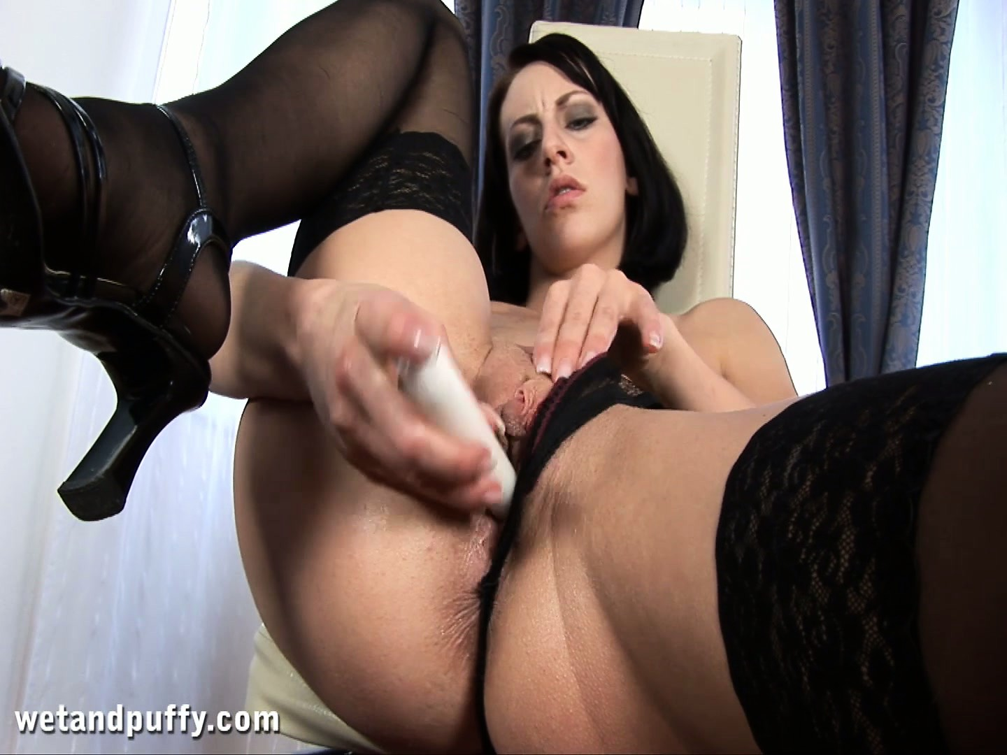 Porn Tube of Striking Babe In Lacy Black Stockings Fucks Her Ass With A Toy