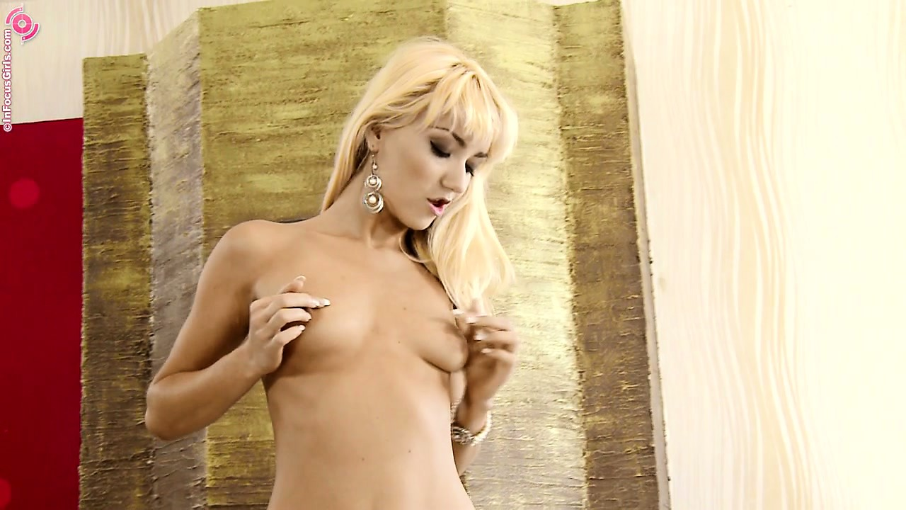 Porn Tube of Blonde Cutie With A Tight Body Teases By Posing In Her Thong
