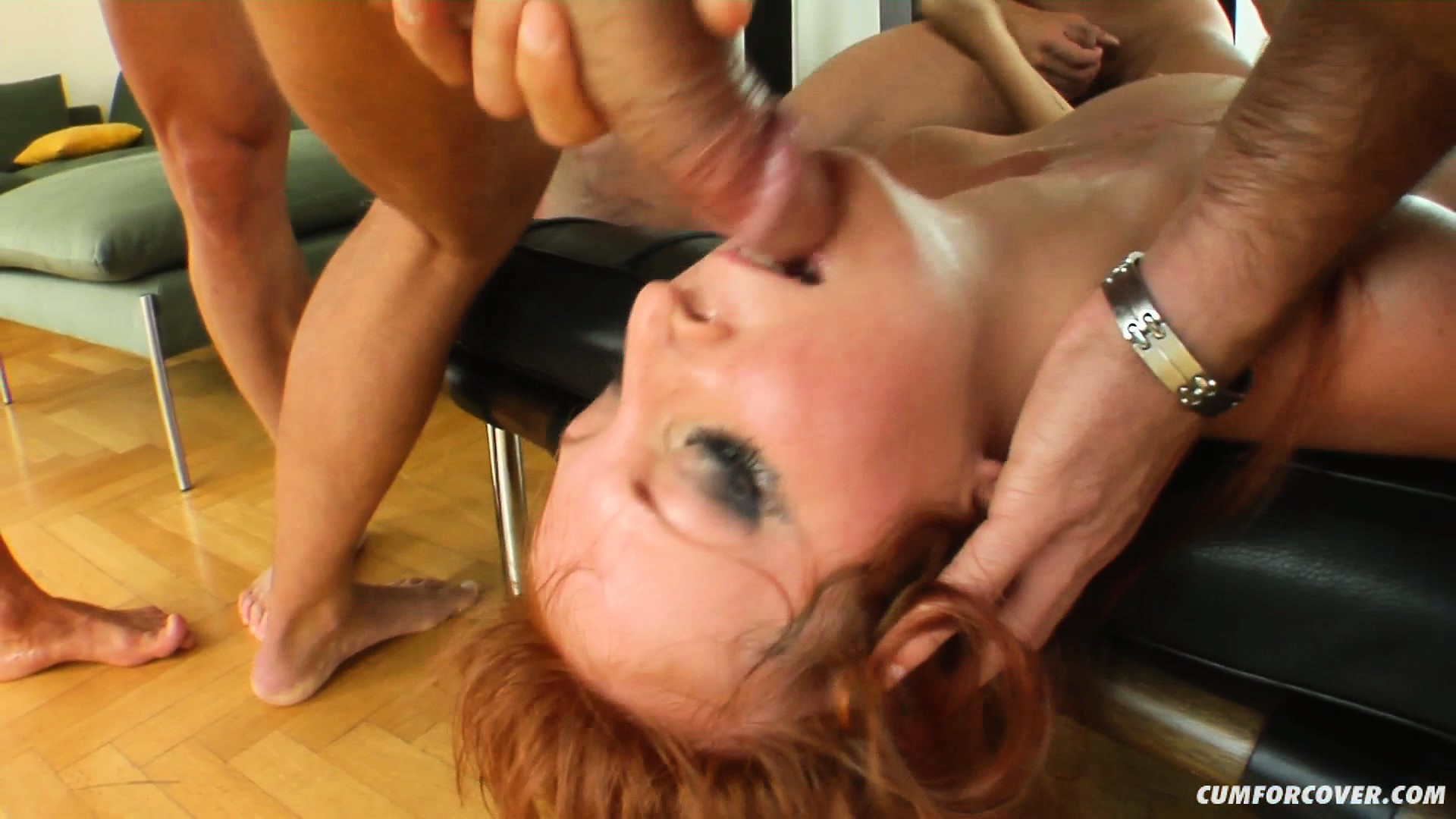 Porn Tube of Redhead Baby Silver Blows A Bunch Of Dudes And Gets Face Fucked