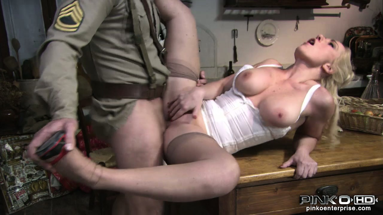 Porno Video of Generous Blond Lady Provides A Soldier With Shelter, Food And Pussy