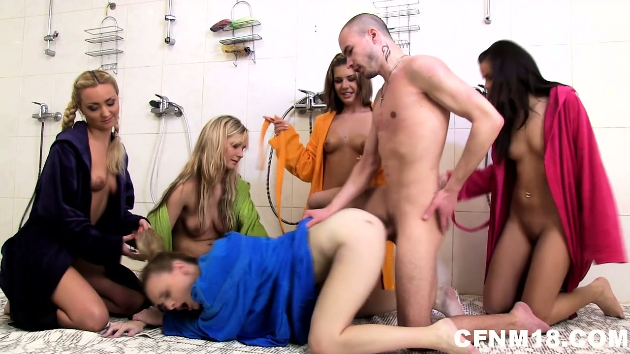 Porno Video of Hardcore Cfnm Action With Five Naughty Chicks And One Lucky Dick