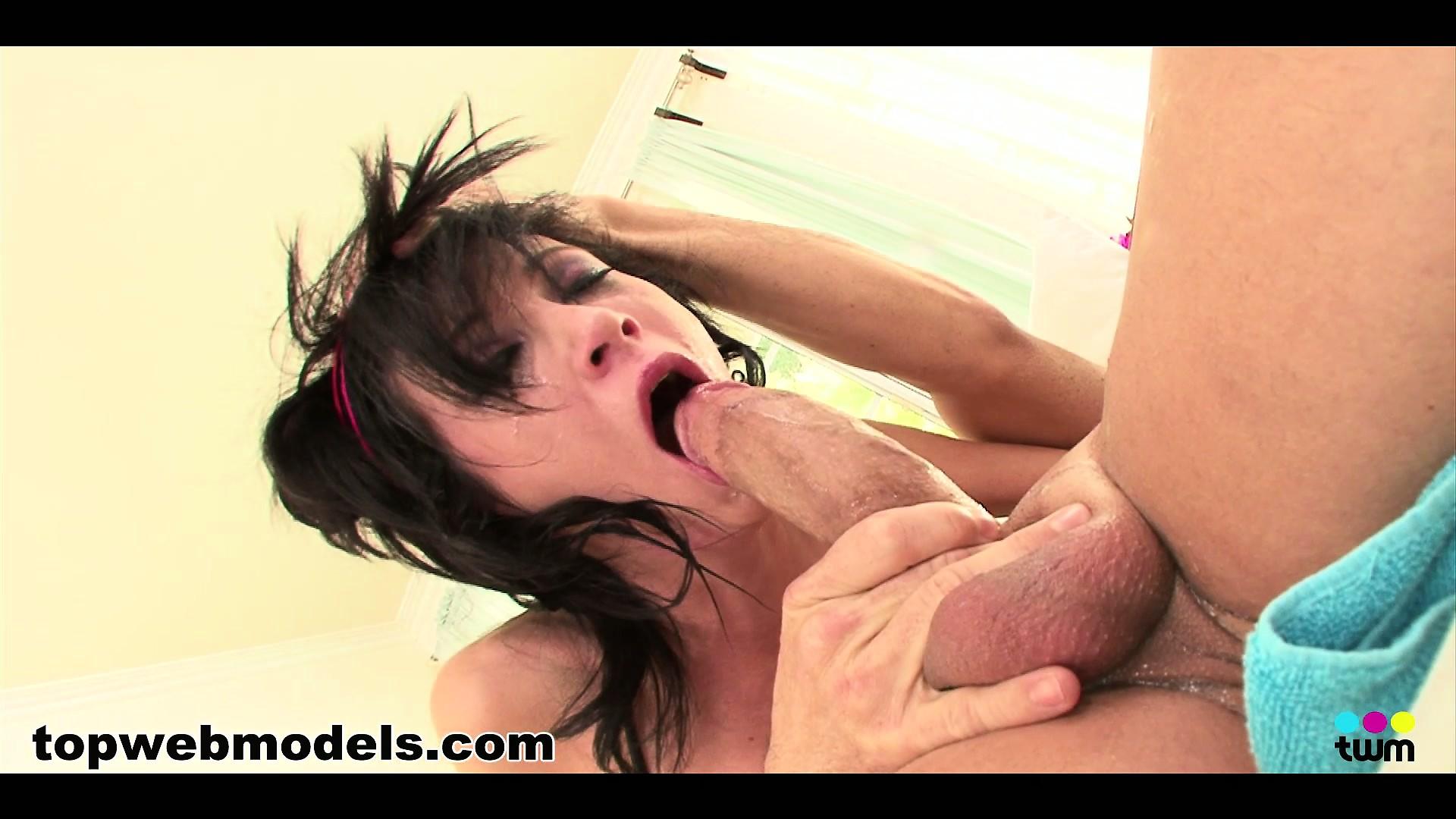 Porno Video of Cocksucker Hillary Scott Takes His Cock Balls Deep Down Her Throat
