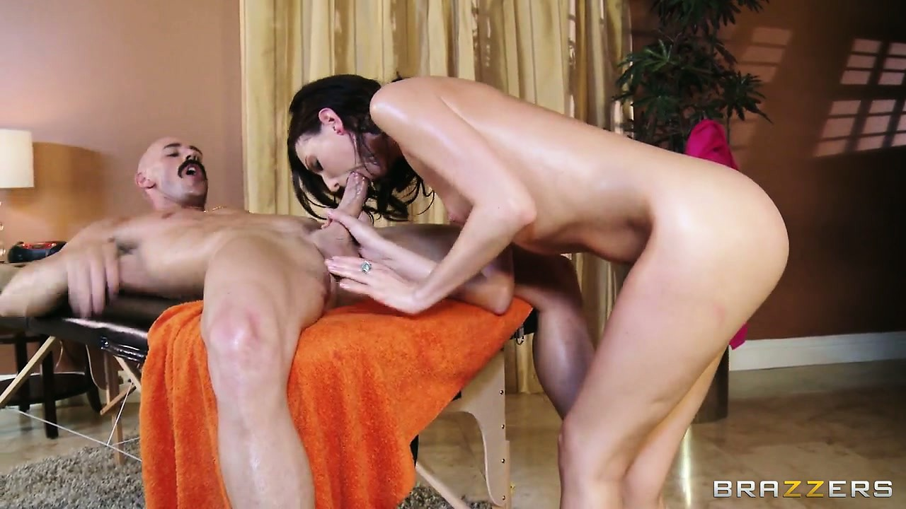 Porno Video of Oiled Up Brunette Gets Big Cock, Sucks, And Then Shows Her Ass