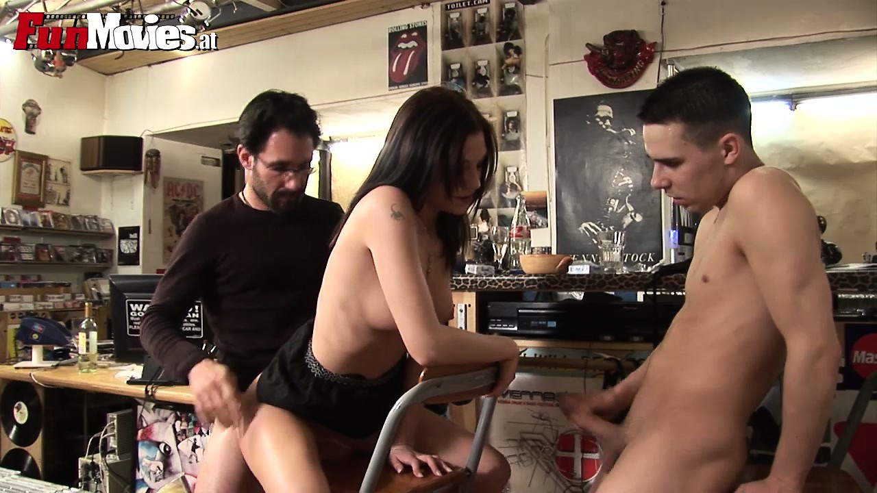 Porn Tube of Threesome In A Record Shop With A Blowjob And Some Ass Fucking