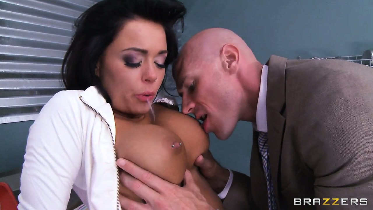 Porn Tube of Hot, Busty Brunette With Pierced Nipples Gobbles Up His Big Cock