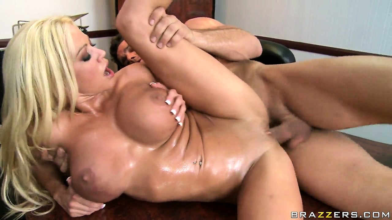 Porn Tube of Oily Blonde Slut Gets A Man To Jizz Between Her Massive Titties