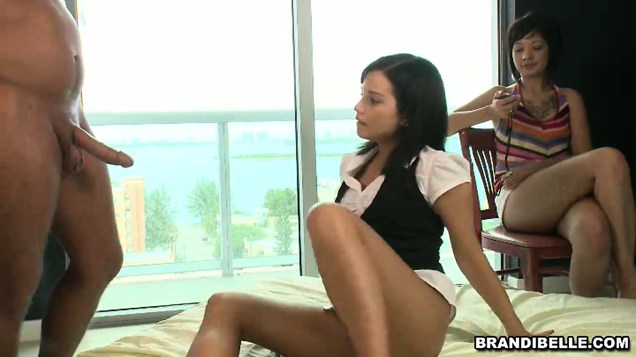 Porn Tube of Kinky Brunette Babe Timing Her Friend Couple's Hardcore Sexual Activity