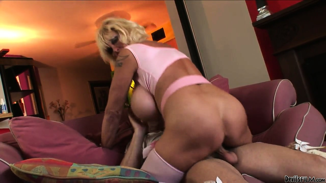 Sex Movie of Mature Blonde Slut Using Her Giant Tits To Masturbate This Guy's Cock And Then She Rides Him