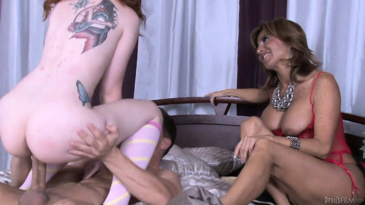 Porno Video of Milky Skin Babe With Small Boobies And Her Luscious Mother Share One Lover