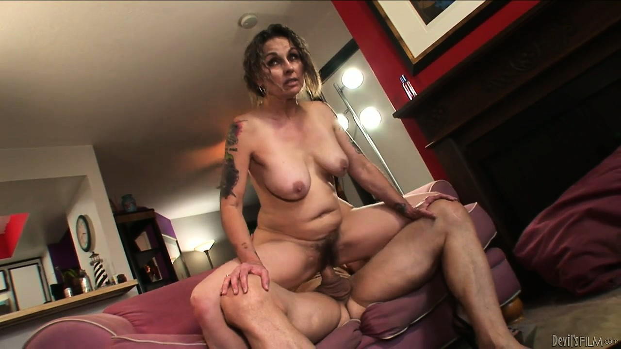 Porno Video of Granny's Hairy Pussy Feels Good About His Big Cock As She Rides It
