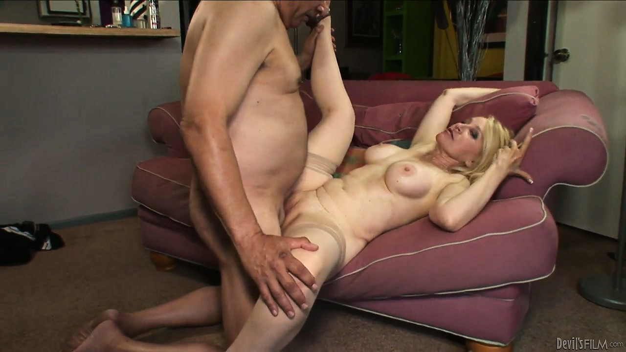 Porn Tube of Blonde Grandma Banged Hard By A Fat Cock In Her Wet And Already Used Pussy