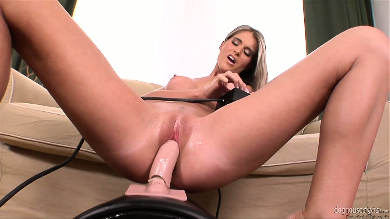 Sex Movie of Horny Blonde Fingers Her Twat And Then Rides Her Sybian Dildo
