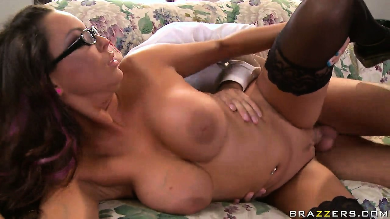 Porn Tube of Glasses, Stockings, Big Tits And A Fat Cock In Her Yummy Snatch