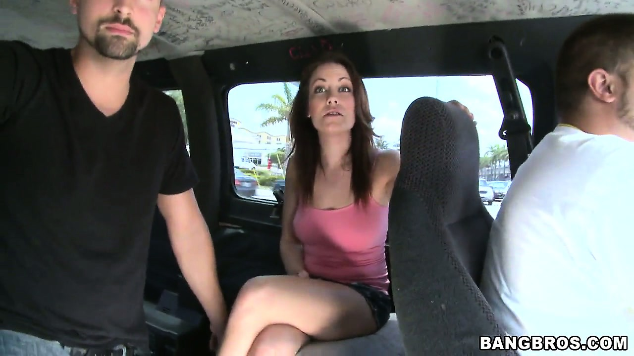 Porno Video of Pretty Brunette Slut Rides In The Back Of The Bangbus For Cash