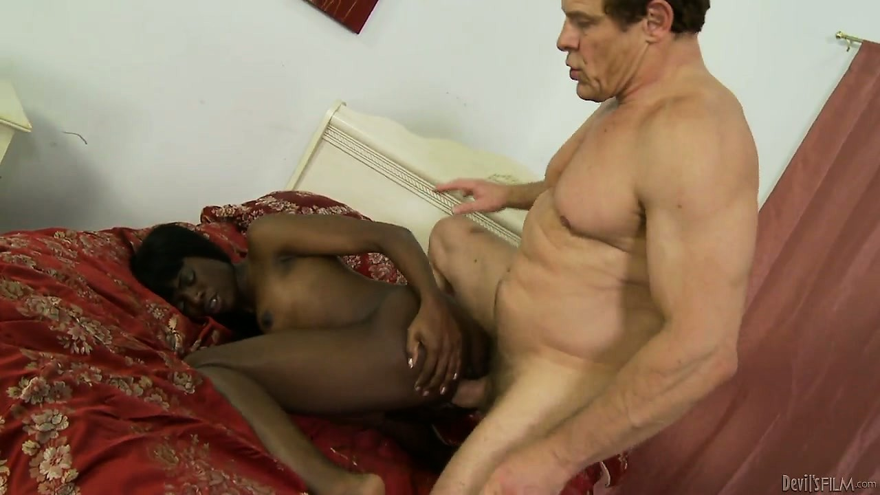 Porno Video of Skinny Ebony Teen Rides Step Daddy's White Boner And Waits For His Creamy Treat